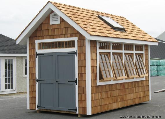 8' x 16' Classic A Frame Garden Shed (cedar shake siding)