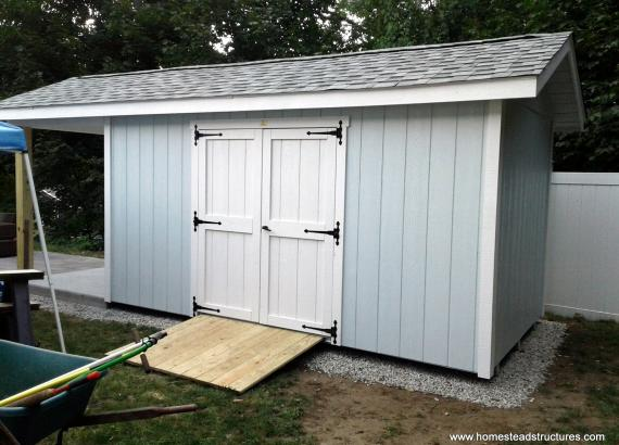 8' x 20' Custom Classic a-frame shed with porch in Weymouth, MA