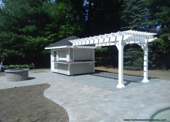 8 x 26 Hip roof Concession stand 8 x 16 with vinyl pergola