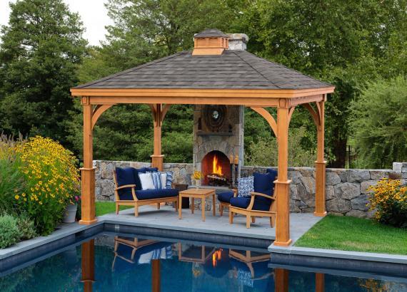 Poolside Keystone Pavilion with Fireplace
