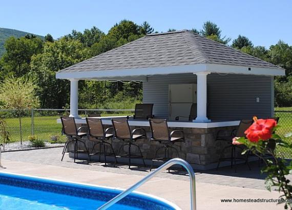10' x 14' Avalon/Siesta Pool House with Bar (vinyl siding)
