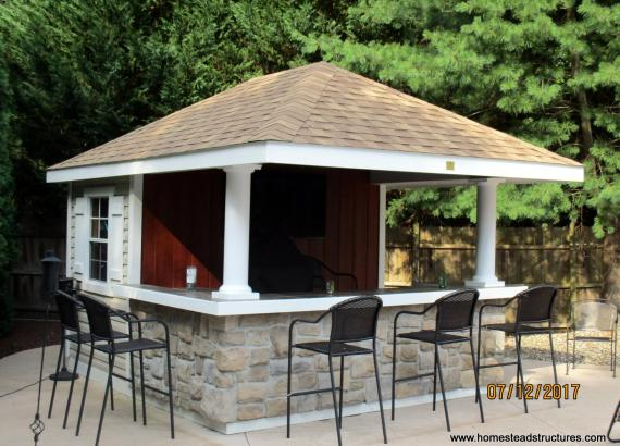 Siesta Pool Cabana with stone veneer on bar front