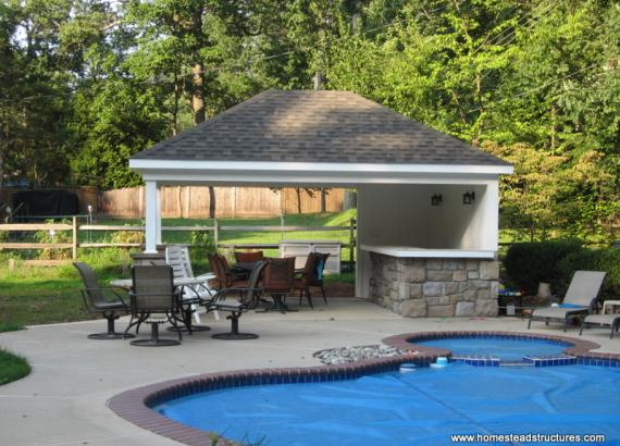 14' x 18' Avalon Pool House (vinyl siding w/ stone piers)