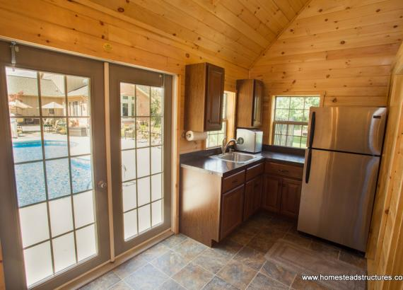 Heritage Pool House Interior with Kitchen