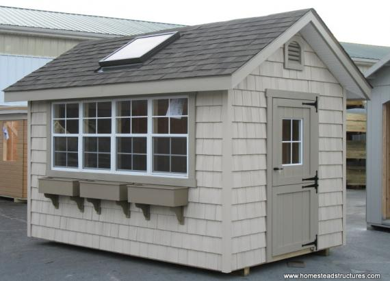 8' x 12' Classic A Frame Potting Shed (Vinyl Shake Siding)