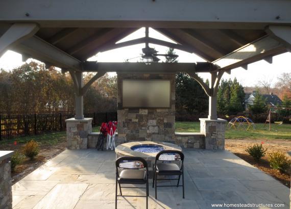 12x14 Timber Frame Pavilion interior Bryn Mawr, PA