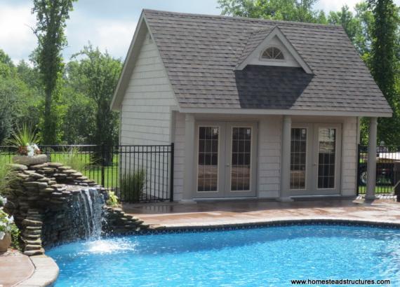 15' x 18' Heritage Pool House (vinyl shake siding)