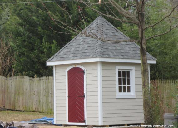 8' x 8' Classic Hip Garden Shed w/ custom roof (Hardie Plank Siding)