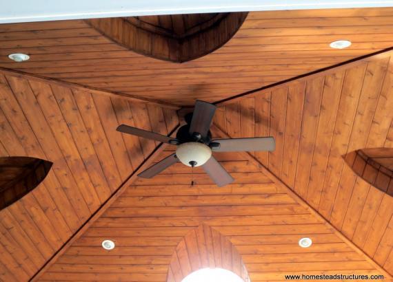 18' x 18' Vintage Pavilion cedar ceiling rafters with ceiling fan