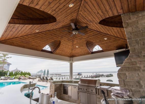 18' x 18' Vintage Pavilion Cedar Ceiling & Fan