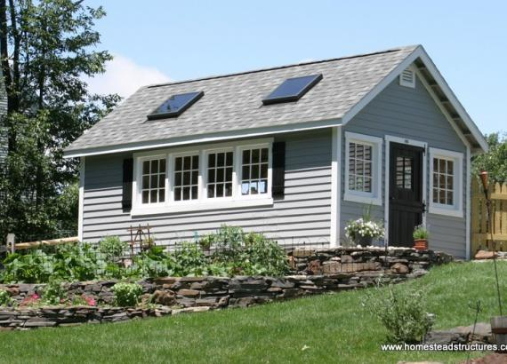 12' x 20' Classic A Frame Garden Shed (Cypress Clapboard Siding)