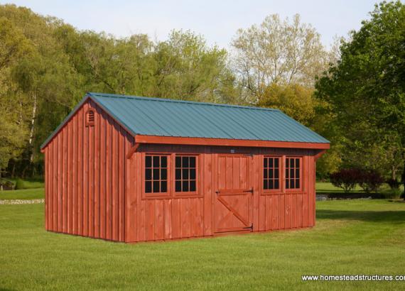 12' x 20' Quaker Shed (Pine Board & Batten Siding)