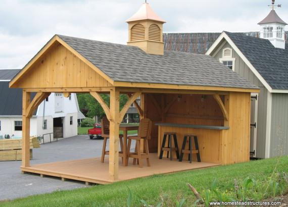 12 x 20 Avalon Pool House with Timber Frame