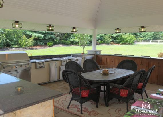 Interior of 20' x 20' Custom Vintage Pavilion with bar and outdoor kitchen