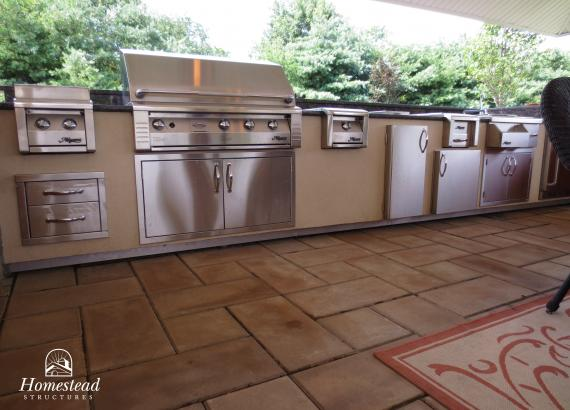Interior of 20' x 20' Custom Vintage Pavilion with stainless steel appliances