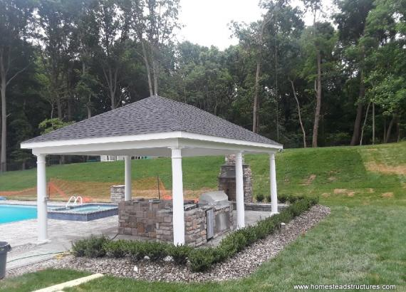 16' x 14' Vintage Pavilion with Outdoor Kitchen