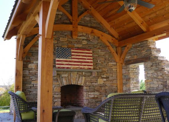 12x20 Timber Frame Pavilion with fireplace