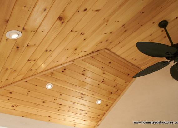 Wellington pool cabana pine ceiling with ceiling fan