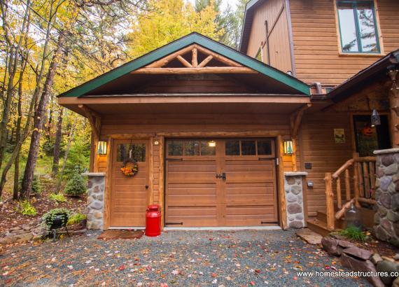16' x 24' Custom Attached Garage (Log Siding)