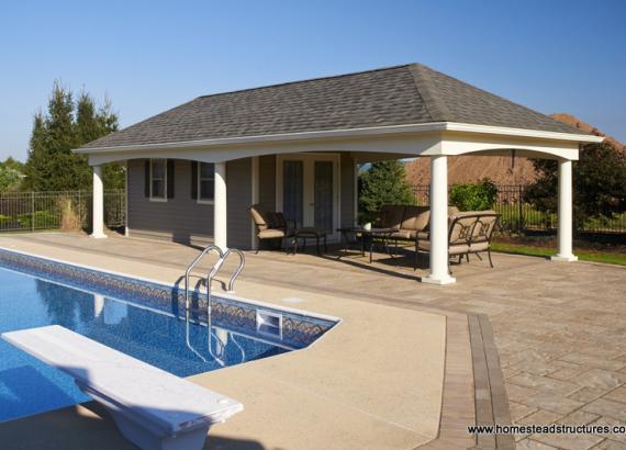 14' x 36' Custom Avalon Pool House (vinyl siding)