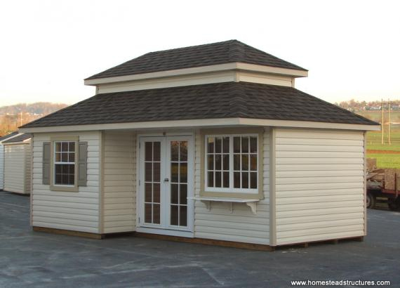 12' x 20' Classic Hip Shed w/ Double Roof (Vinyl Siding)