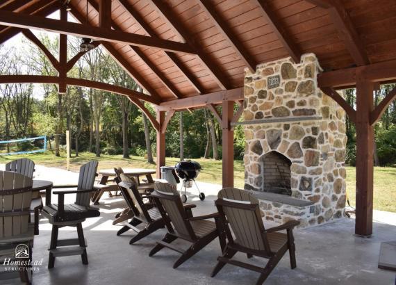 Timber frame pavilion ceiling & fireplace