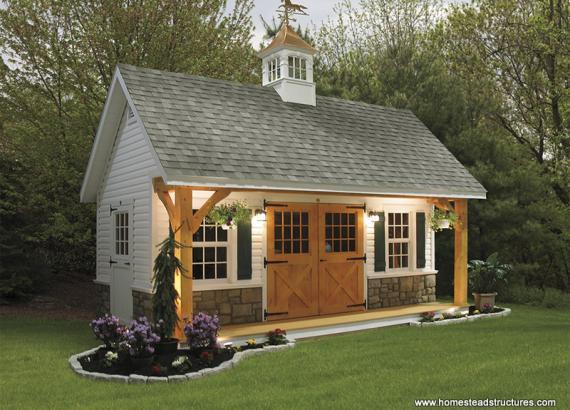 12' x 20' Heritage Pool House w/ Timber Frame Porch (vinyl siding)