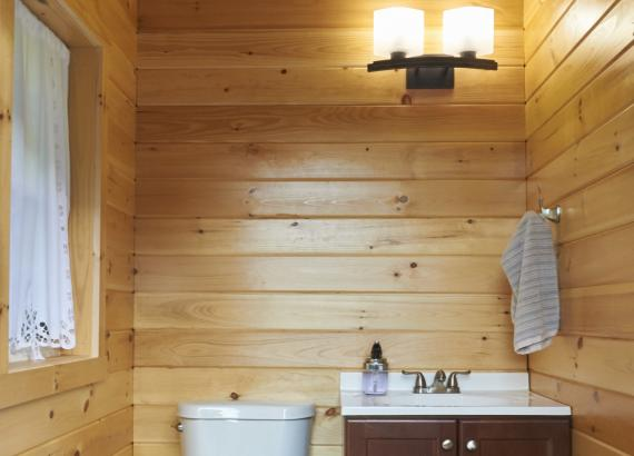 Finished Bathroom with T&G pine walls