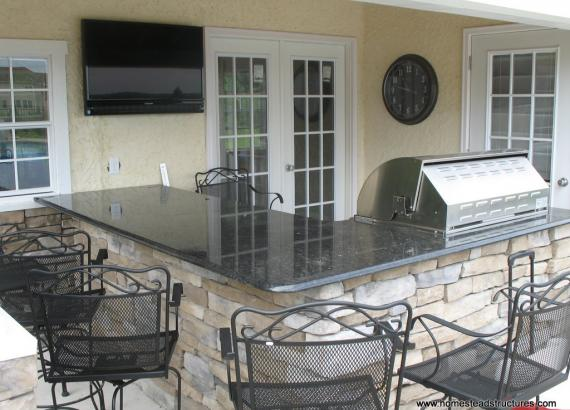 Wellington pool cabana counter with built in grill