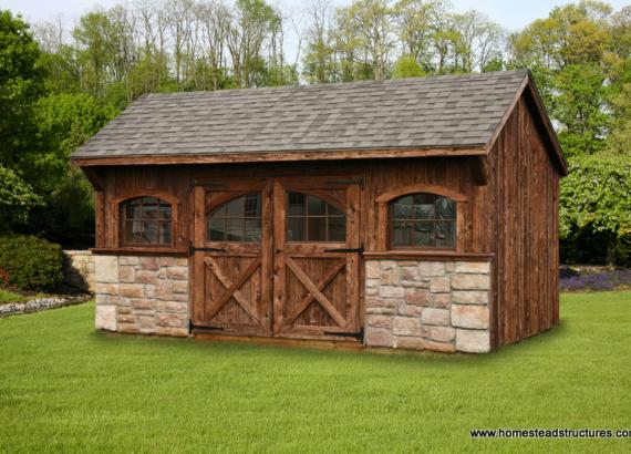 10' x 16' Carriage House Shed (Mushroom Board Siding)