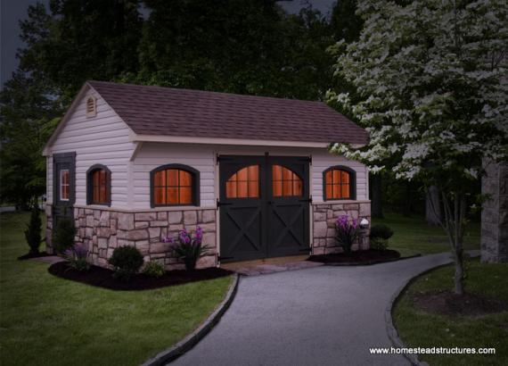 12' x 18' Carriage House Shed (Vinyl Siding)