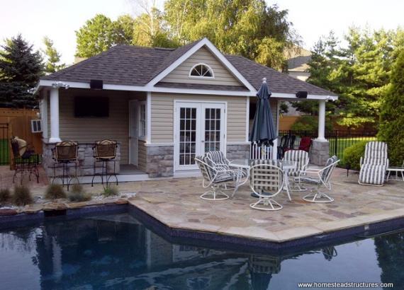 14' x 28' Custom Hip Roof Pool House (Vinyl Siding w/ Stone Veneer)