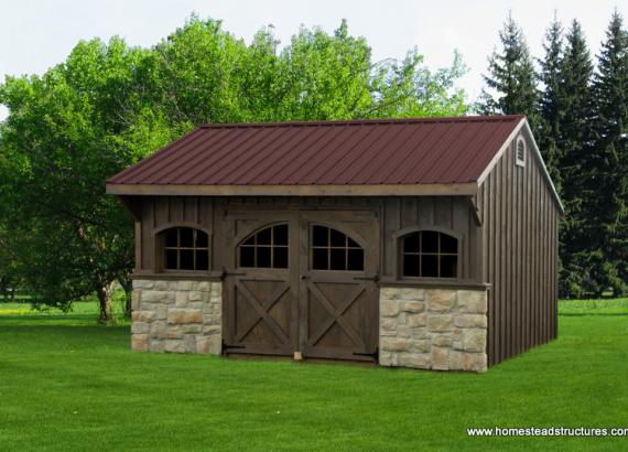12' x 16' Carriage House Shed (Pine Board & Batten Siding)