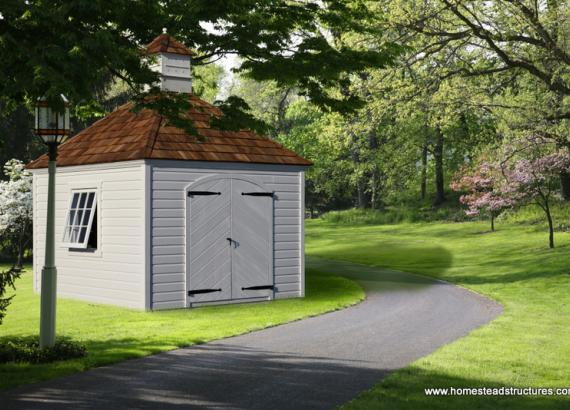 10' x 10' Laurel Hip Garden Shed (german pine siding)