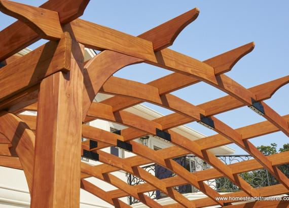 Close up of 10x14 arched wood pergola