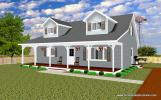 3-D rendering of 2 car, 2 story garage (front view)
