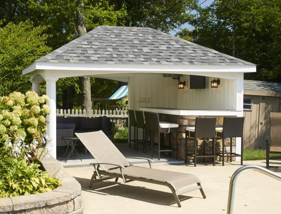 Amish built pool houses pavilions garages sheds for Garage pool house combos
