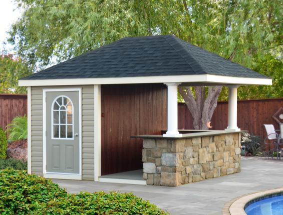 Homestead structures hand crafted pool houses pavilions for Small pool house with bathroom