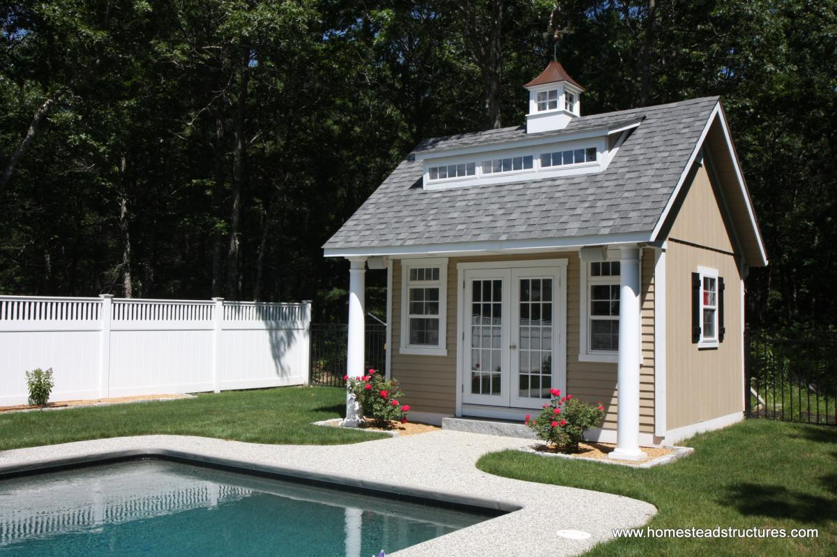Pool houses homestead structures for Garden pool sheds